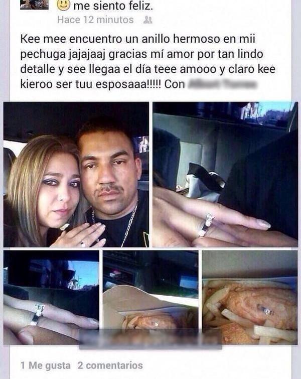 descripción en facebook de la propuesta de matrimonio que recibió una chica en una pechuga de pollo