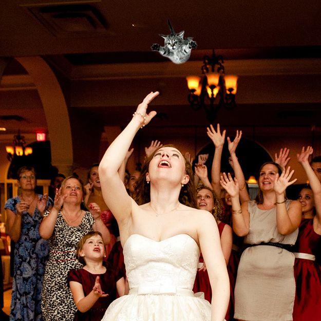 novia lanza a un gato a una multitud de chicas esperando el ramo de la novia
