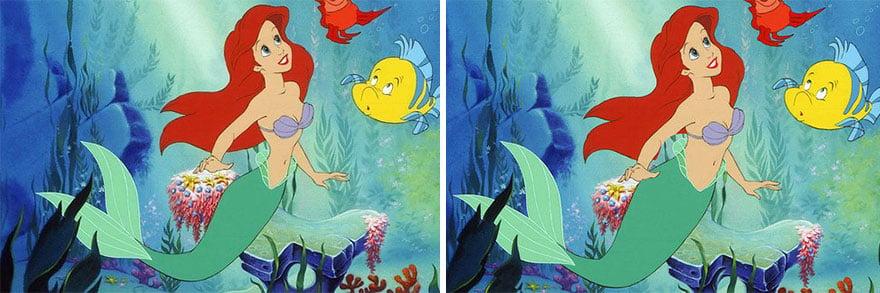 Princesa Ariel de Disney en una escena donde se encuentra en bajo el mar con un pez y un cangrejo comparada con una cintura real y una cintura creada originalmente por Disney