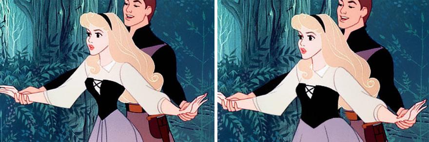 princesa de Disney bailando con su príncipe en donde se compra su cintura creada por Disney y una cintura normal