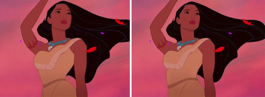 Princesa Pocahontas de Disney con su pelo volando por el viento siendo comparada con una cintura normal y la original creada por Disney