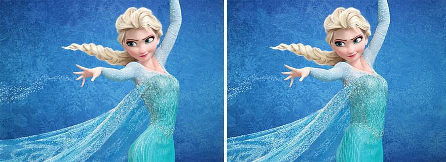 princesa de Disney Elsa lanzando nieve con sus manos comparada cintura normal y la original de Disney