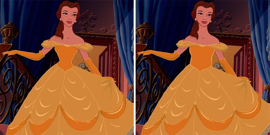 princesa Belle de Disney comparada con cintura normal y cintura creada por Disney