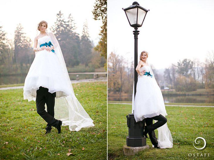 hombre vestido de traje bajo la falda del vestido de novia de una mujer