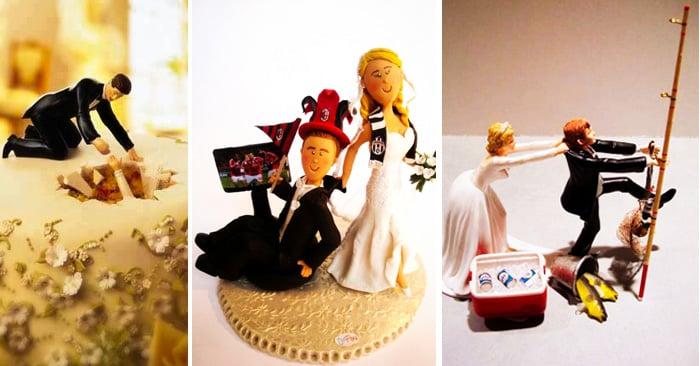 20 Divertidas y creativas figuras para pastel que vas a querer tener en tu boda
