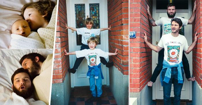 Dos hermanos recrean su niñez en divertidas fotos ¡Morirás de risa!