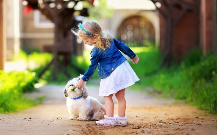 niña jugando con un cachorro