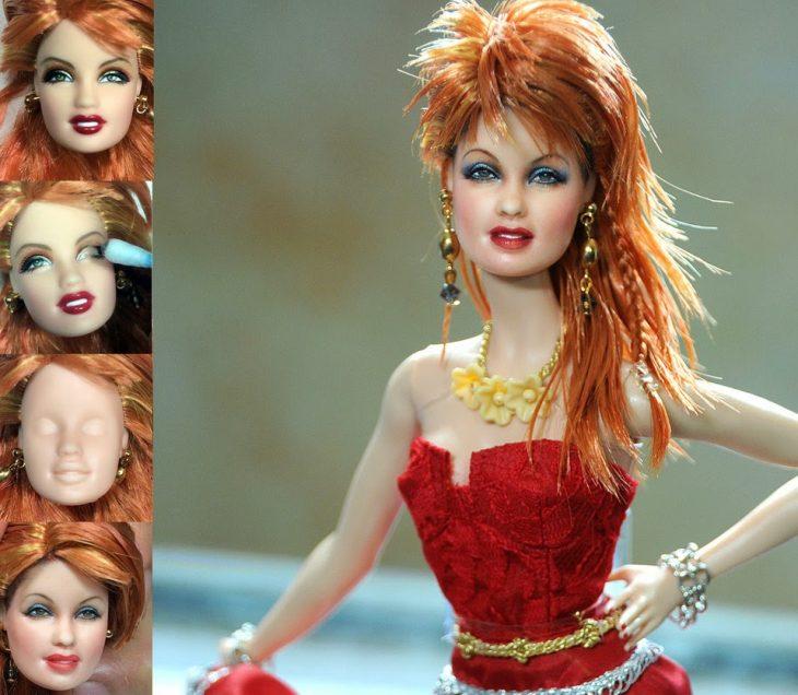 muñeca de la cantante cindy luper usando un vestido naranja
