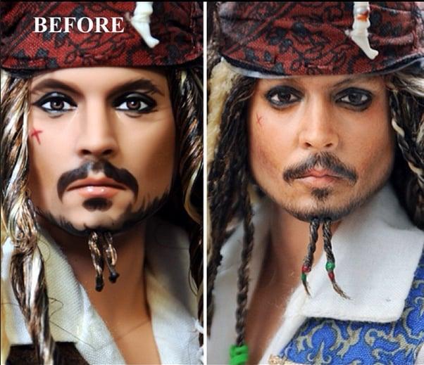 antes y después del muñeco de jack sparrow de la película piratas del caribe