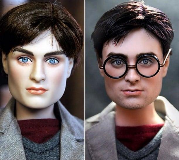 muñecos de harry potter antes y después de ser retocado