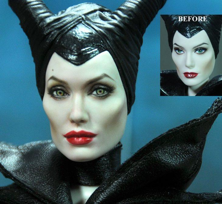 muñeca de malefica antes y después de ser maquillada