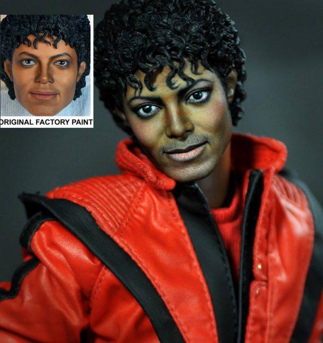 muñeco de Michael Jackson usando una chamarra roja