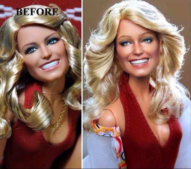 muñeca de farrah fawcett usando una blusa olor rojo