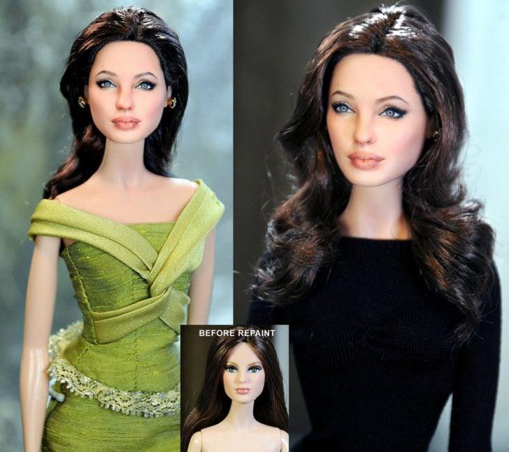muñeco de angelina joli retocada con maquillaje y vestida de color verde y negro