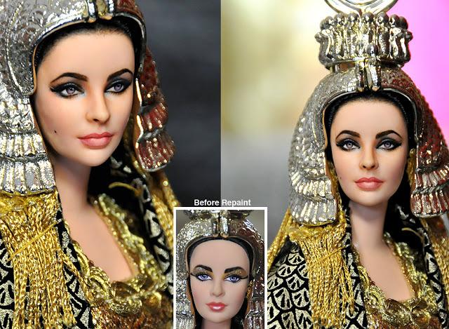 muñeca de Elizabeth Taylor vestida de cleopatra