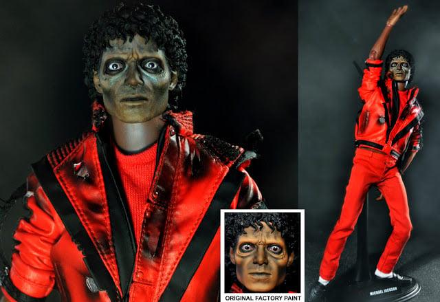 muñeco de michael jackson caracterizado como zombie usando una chamarra roja