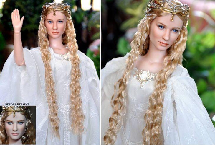 muñeca elfica de la saga del señor de los anillos usando un vestido blanco
