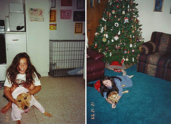 Fotos de niña y perro en navidad
