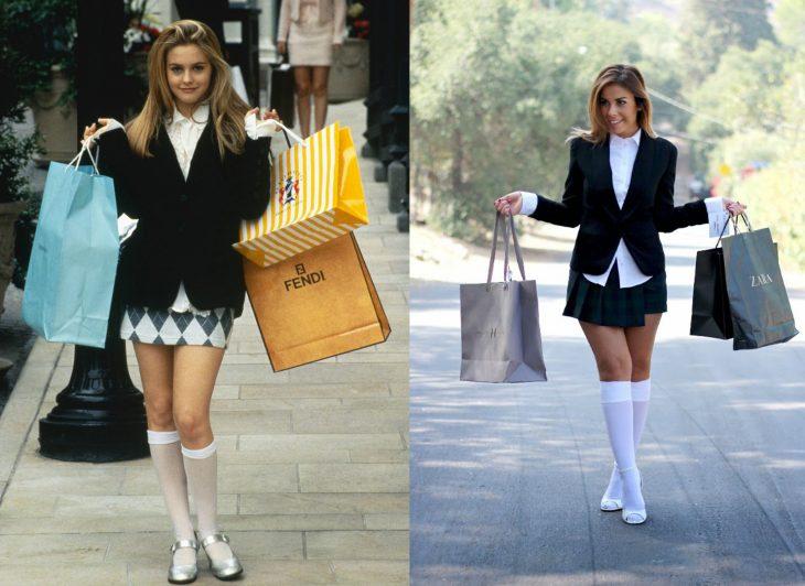 chicas sosteniendo bolsas con compras usando falda y medias hasta las rodillas y sueter