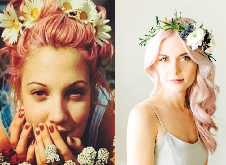 chicas con cabello rosa y flores