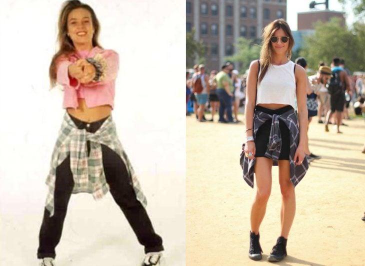 comparación de la cantante fey con una mujer del 2015 ambas usando camisa atada a la cintura