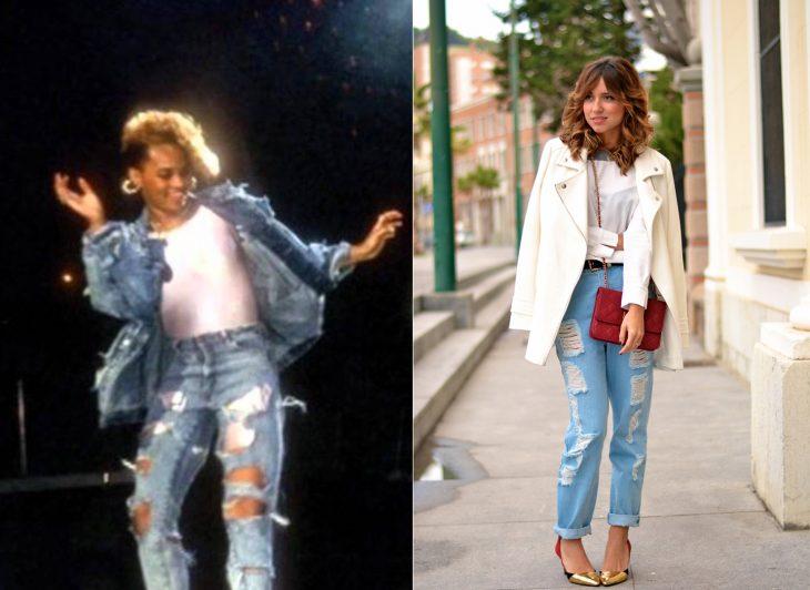 comparación de los jeans de los 90 y los de moda en el 2015