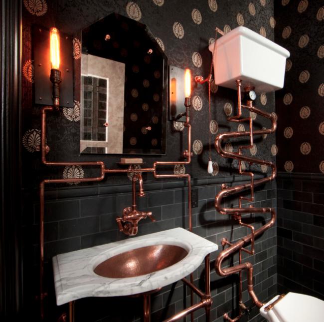 baño de cobre con la tubería por fuera