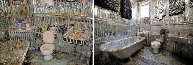 cuarto de baño hecho completamente de pedazos de cistales