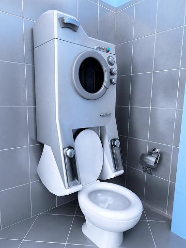 baño con secadora de ropa integrada