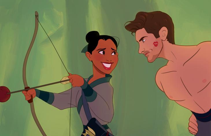 escena de la película mulan donde la protagonista esta sosteniendo un arco para lanzar una flecha y la esta observando un chico