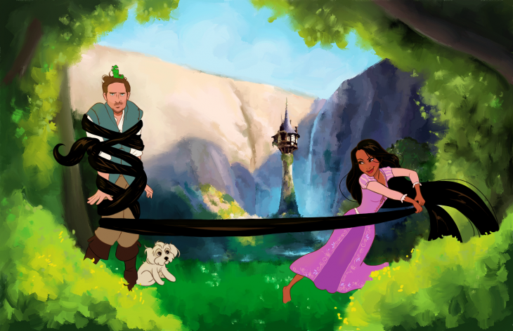 rapunzel y yuyin de la película enredados