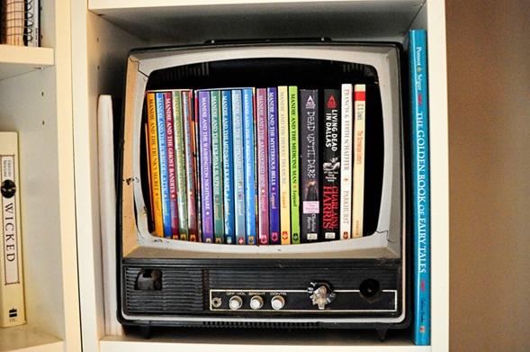 librero en forma de televisión