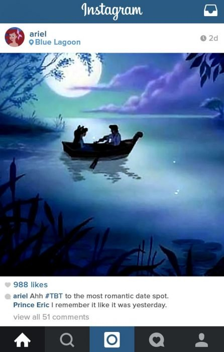 escena de la película la sirenita donde el príncipe la lleva a dar un paseo en lancha