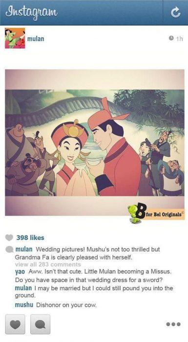 personajes de la película mulan el día de su boda