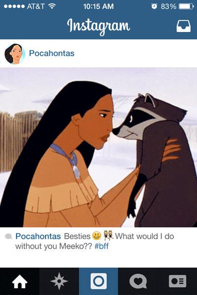 pocahontas sosteniendo a un mapache en su cuenta de instagram