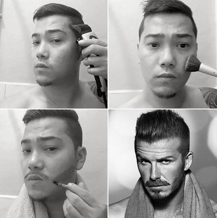 #makeuptransformation David Beckham