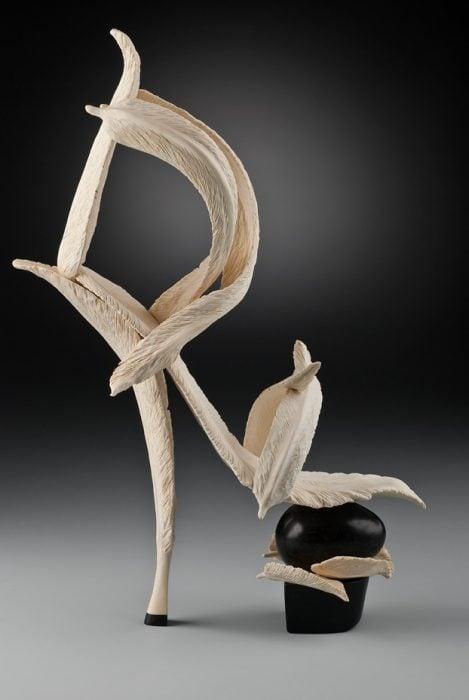 zapato formado por plumas