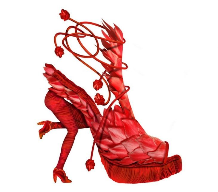 zapatos rojos que en tacon son las piernas de una mujer