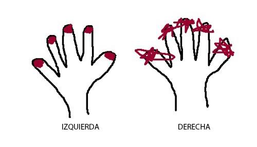 dibujo de manos tratando de pintarse las uñas