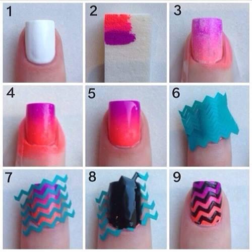 diseño de uñas de colores paso a paso