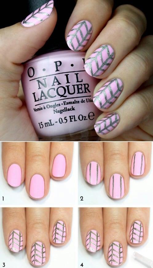 uñas de color rosa con brillos plateados paso a paso