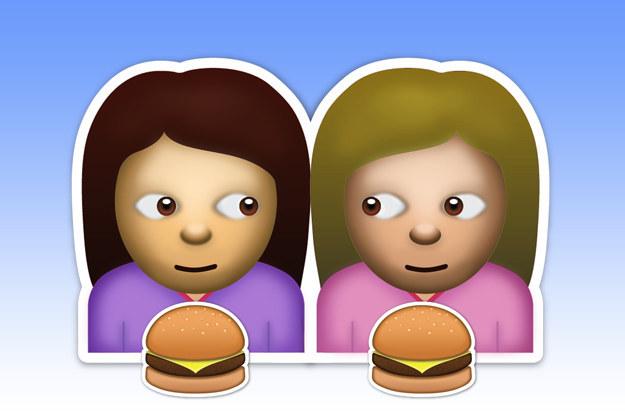 emoji de dos amigas que comeran hamburguesas