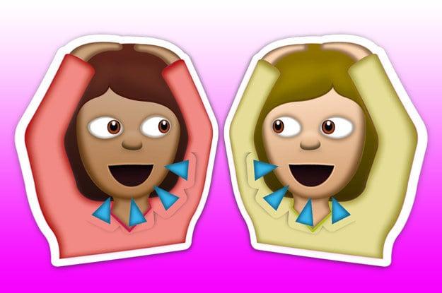 emojis de amigas hablando y gritando con los brazos alzados