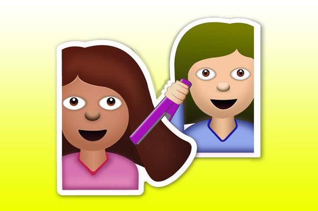 emoji de las amigas planchándose el cabello