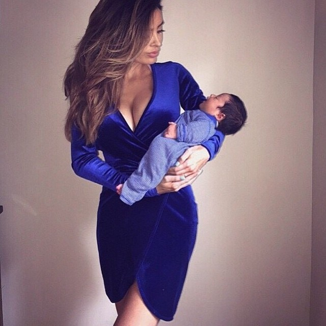 Sarah con su bebé