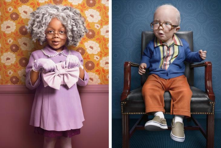 niños vestidos de ancianos