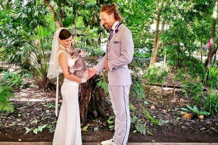pareja casándose y sosteniendo un koala  en brazos