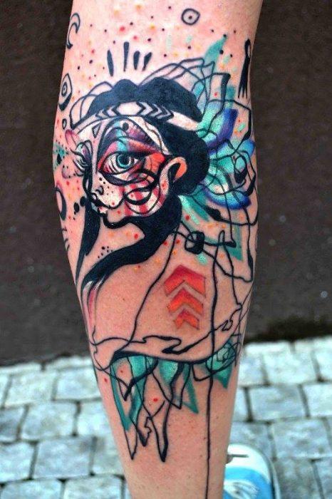 apache tatuado al estilo acuarela
