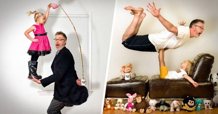 ¿El mejor PAPÁ del mundo o el peor? Un padre distraído hace DIVERTIDAS fotos con su adorable hija