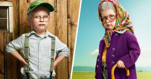 Divertidas fotografías de BEBÉS disfrazados como adultos mayores ¡Son encantadores!